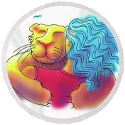 Lion Hug Round Beach Towel