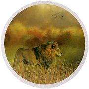 Round Beach Towel featuring the photograph Lion In The Mist by Diane Schuster