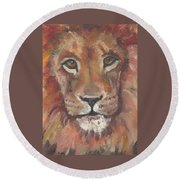 Round Beach Towel featuring the painting Lion by Jessmyne Stephenson