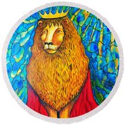 Round Beach Towel featuring the painting Lion-king by Rae Chichilnitsky