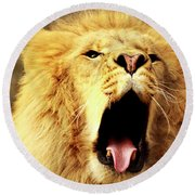 Lion King Yawning Round Beach Towel
