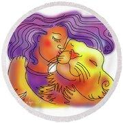 Lion Kiss Round Beach Towel