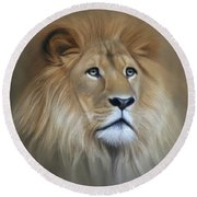 Lion Round Beach Towel by Lena Auxier