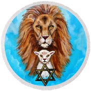 Round Beach Towel featuring the painting Lion Lies Down With A Lamb by Bob and Nadine Johnston