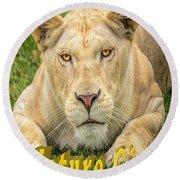 Lion Nature Girl Round Beach Towel
