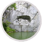 Lion Of Lucerne Round Beach Towel by Joseph Hendrix
