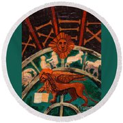 Round Beach Towel featuring the painting Lion Of St. Mark by Genevieve Esson
