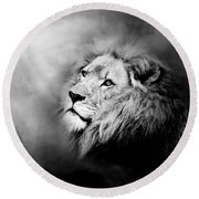 Lion - Pride Of Africa II - Tribute To Cecil In Black And White Round Beach Towel