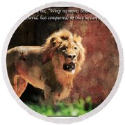 Lion Revelation 5 Round Beach Towel