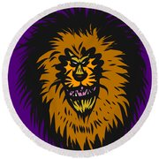 Lion Roar Purple Round Beach Towel
