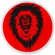 Lion Roar Round Beach Towel
