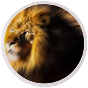 Lion The King Is Comming Round Beach Towel