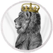 Lion The King Of The Jungle Round Beach Towel