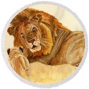 Lion Watercolor Round Beach Towel