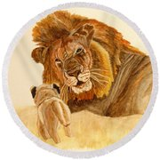 Lion Watercolor Round Beach Towel
