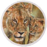 Round Beach Towel featuring the painting Lioness And Cub by David Stribbling