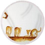 Lioness And Cubs Small - Original Artwork Round Beach Towel