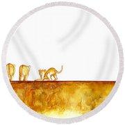 Lioness And Cubs - Original Artwork Round Beach Towel