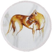 Lioness And Wildebeest Round Beach Towel