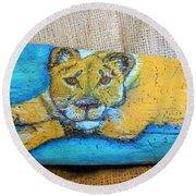 Lioness Round Beach Towel by Ann Michelle Swadener
