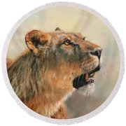 Round Beach Towel featuring the painting Lioness Portrait 2 by David Stribbling