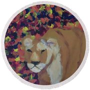 Round Beach Towel featuring the painting Lioness Pride 1 Of 6 by Donald J Ryker III