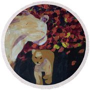 Round Beach Towel featuring the painting Lioness' Pride 3 Of 6 by Donald J Ryker III