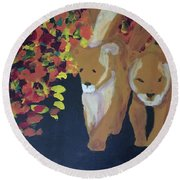 Round Beach Towel featuring the painting Lioness' Pride 4 Of 6 by Donald J Ryker III
