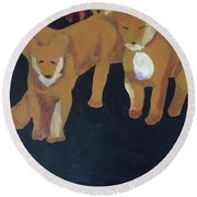 Round Beach Towel featuring the painting Lioness' Pride 5 Of 6 by Donald J Ryker III
