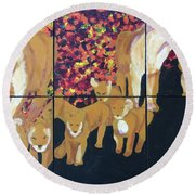 Round Beach Towel featuring the painting Lioness Pride by Donald J Ryker III