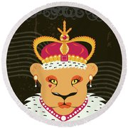 Lioness Queen Round Beach Towel