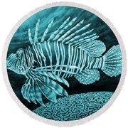 Lionfish On Blue Round Beach Towel