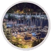 Lions Gate Bridge And Stanley Park Round Beach Towel by Ross G Strachan