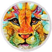 Lion's Head Gold Round Beach Towel