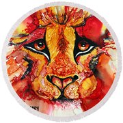 Lion's Head  Red Round Beach Towel