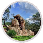 Round Beach Towel featuring the photograph Lions On The Rock by B Wayne Mullins