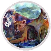 Lion's Play Round Beach Towel