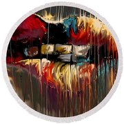 Round Beach Towel featuring the digital art Lips Say It All by Darren Cannell