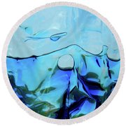 Round Beach Towel featuring the photograph Liquid Abstract  #0059 by Barbara Tristan