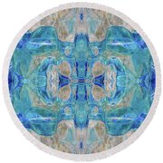 Round Beach Towel featuring the digital art Liquid Abstract  #0060-1 by Barbara Tristan