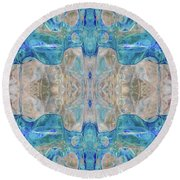 Round Beach Towel featuring the digital art Liquid Abstract  #0060-2 by Barbara Tristan