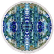 Round Beach Towel featuring the digital art Liquid Abstract #0061-2 by Barbara Tristan