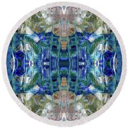 Round Beach Towel featuring the digital art Liquid Abstract #0061_1 by Barbara Tristan