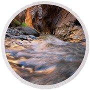 Liquid Gold Utah Adventure Landscape Photography By Kaylyn Franks Round Beach Towel
