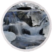 Round Beach Towel featuring the photograph Winter Waterfall In Maine by Glenn Gordon
