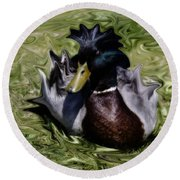 Liquid Mallard Round Beach Towel