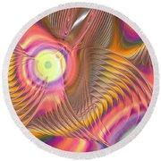 Round Beach Towel featuring the digital art Liquid Rainbow by Anastasiya Malakhova