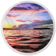 Liquid Red Round Beach Towel
