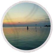 Round Beach Towel featuring the photograph Liquid Sunset by Anne Kotan