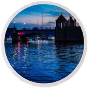Liquid Sunset Round Beach Towel